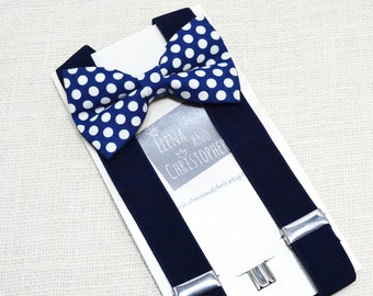 Navy with White dot Bow Tie and Navy Suspender Set !! for toddler/ boy/ baby/Teen/Adult/Men