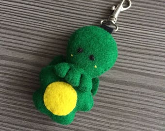 Keychain plush Cthulhu green soft toy handsewn