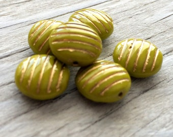 Glass coin beads, pressed glass beads avocado green 12mm pack of 6