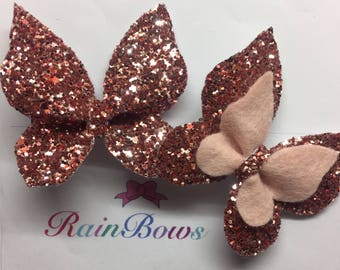 2 Butterfly glitter bows
