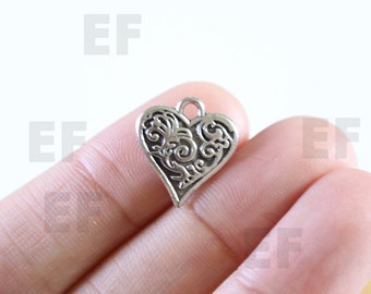 2 Heart Charms Antique Silver
