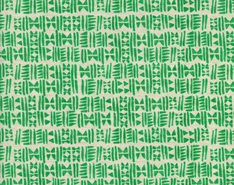 Cotton + Steel Panorama Ocean - Stamps in Emerald City -  Green Fabric - Unbleached Quilting Cotton - By the Yard