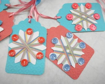 Thread Winders Keeps Vintage Inspired Hang Tag Lot (6) Each Button Notions Embellished Cards Decorations Ornaments
