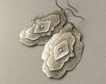 Silver earrings, riveted layered metal, hammered texture