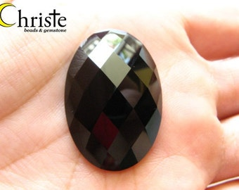 Black Onyx Faceted Oval Cabochon 20x30mm