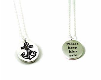 Please keep him safe - anchor necklace