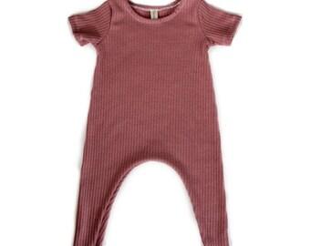 Rose Lightweight Rib Knit Harem Romper- baby onesie, solid romper