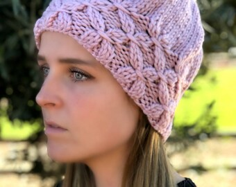 Women's Hat Pompom Hat  Pink Hat Chunky Slouchy Pompom Beret Gift For Her