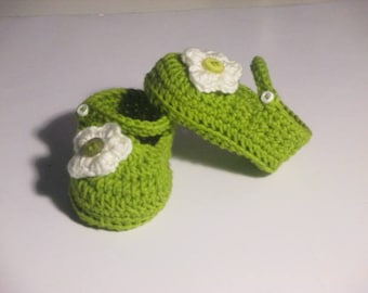 Crochet Baby Doll Shoes-Baby Booties w/3D Flower