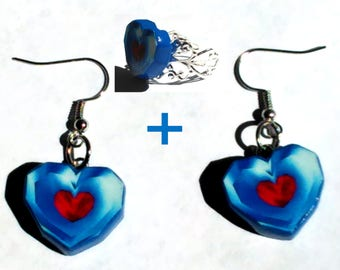 EARRINGS + RING! Zelda Heart Container Earrings and Adjustable Ring Set