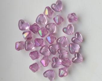 Iridescent Pink Beads. Crystal Acrylic Beads,  15 Hearts, 14 bi-cones beads, Aurora Borealis Pink Beads -  DESTASH by enchantedbeas on Etsy