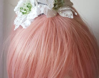White and Blue Winter Showgirl Hair Flower