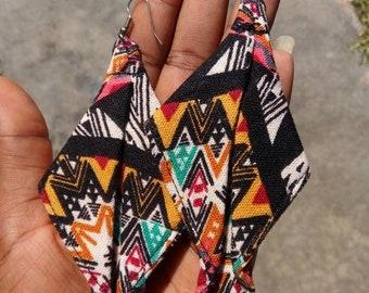 Unique Earrings Handmade Jewelry, Fabric Earrings, Gifts for Women, Gifts Under 50, Colorful Earrings, Large Earrings, Dangle Earrings