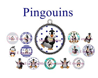 Penguins 25mm and 20mm and 18mm round cabochon digital collage sheet