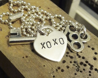 Personalized Hand Stamped Heart and Key Necklace. Shiny sterling silver Valentine love initials monogram personalized