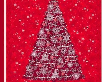 Christmas Fabric Panel - Christmas Tree Fabric Panel - Christmas Quilt Panel