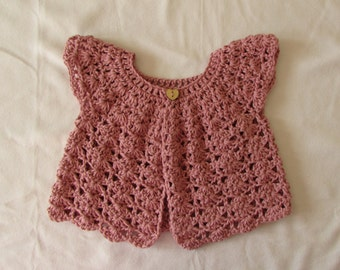 Crochet Shell Stitch Baby / Girl's Cardigan Written Pattern