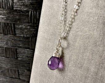 MD - Dark Purple Amethyst Charms - Amethyst Necklace Charms - Sterling Silver Charms - Amethyst Birthstone Jewelry - February Birthstone