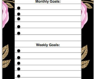 Monthly goals, printable, planner inserts, roses, digital download, instant download
