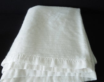 """Vintage Blanket Satin Edge - Bedding - Granny Chic - 67"""" Wide x 92""""Long - Prop Bed Room 1960's to 1970's - Cream White"""