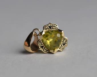 Gatsby Pendant, Yellow Gold Pendant, Trillion Pendant, Chrysoberyl Trillion Pendant, Chrysoberyl from Madagascar, Gatsby, June Birthtstone