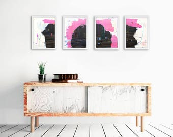 Abstract Painting - Four piece Abstract  Painting -Pink Abstract Painting - Pink Black Abstract Painting -Modern Abstract Painting