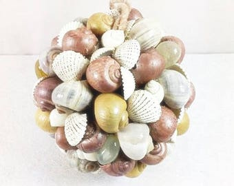 Big Beige Brown Seashell Ball Seashell Centerpiece Cake Topper Seashell Wedding Decoration Seashell Ornament