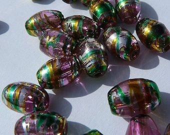 0305.004 Glass Foiled Oval , 6x9mm Pink