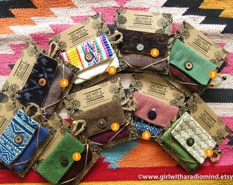 Zakka Gift for Her - Coin Purse Handmade Assorted - Boho, Folk, Whimsical, Cute, Tribal, Asian, Hippie - PICK YOUR FAVORITE
