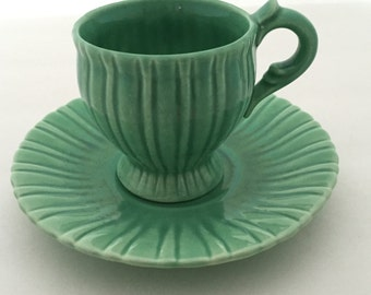 Vintage Cup and Saucer--Art Pottery Cup and Saucer--Vintage Demitasse Cup and Saucer--Green Cup and Saucer