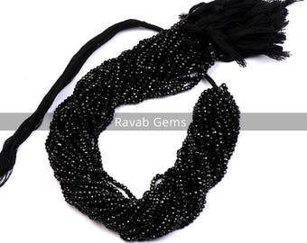5 Strand 13 Inch Black Spinel Faceted Beads AAA+ Quality Natural Black Spinel Faceted Rondelle 2mm Black Spinel Micro Faceted Beads