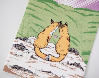 SALE - Fox Love Valentine Wedding greeting card - 50% off
