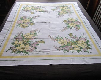 Vintage Mid Century 53x62 Simtex Yellow Floral Cotton Kitchen Tablecloth