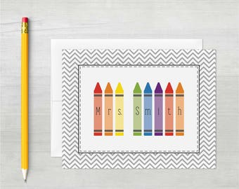 Personalized Stationery • Kindergarten Crayon {FOLDED} • 10 Note Cards with Envelopes • Teacher Thank You • Teacher Note Cards • Stationary