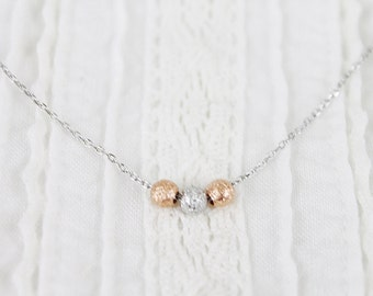 3 Ball Necklace Bridesmaid Necklace Bridesmaid Gift Dainty and Delicate Necklace