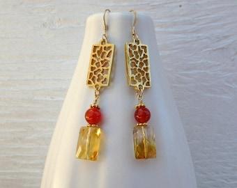 Handmade citrine earrings, citrine and carnelian