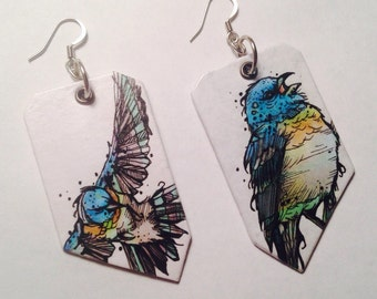 Lazuli Bunting painted charm earrings - time to fly -Hand-Painted bird earrings Portland Oregon