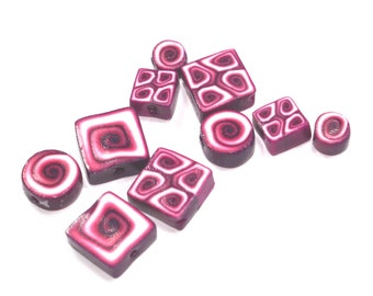Polymer Clay mixed set of beads, unique pattern in Pinks and purple, elegant flat beads in different shapes, set of 10