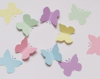 """50 PASTEL BUTTERFLY die cuts, size 2""""x 1.75"""" / paper butterflies"""