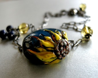 yellow sunflower necklace, lampwork bead with quartz and blue sapphires necklace, sunflower necklace