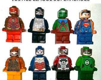 Stocking Stuffer for Kids Justice League CrayonsMinifigures - Set of 8 Gift Boxed Superman Flash Cyborg Batman Green Lantern Wonder Woman