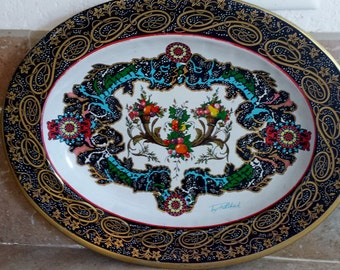 Vintage Daher Corucopia  Fruit Tray signed by artist Pritchard Lovely metal tray Made in England TEN Dollar  sale
