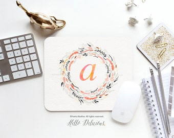 Monogram Mouse Pad Mousepad Floral Watercolor Mouse Mat Wreath Mouse Pad Office Mousemat Rectangular Floral Personalized Mousepad Round 32.