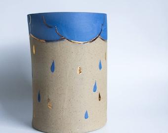 stoneware vase, beige blue gold vase, home decor, ceramic gift, vase gifts, vase centrepiece, vase for flowers, large cylinder vase