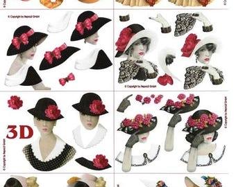 1 x sheet 3D girls hats (984)