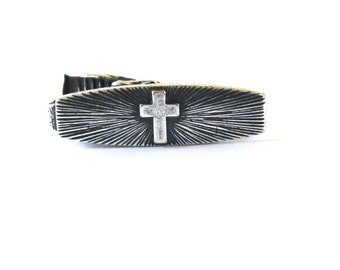 Cross Tie Bar Sterling Silver Finish Sunburst Cross First Communion & Confirmation Tie Bar Gifts For Men