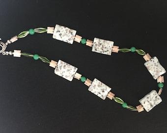 Ocean Jasper and Vintage Glass Necklace