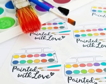 Painted with love stickers sign maker packaging watercolor stickers