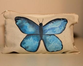 Blue Butterfly Canvas Zipper Case