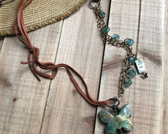 FLY-mixed media necklace
